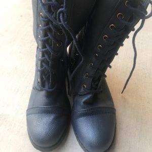 Navy blue combat boots